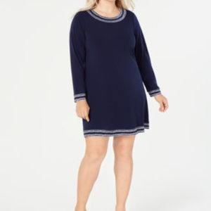 Michael Kors Plus Size Long-Sleeve Dress True Navy